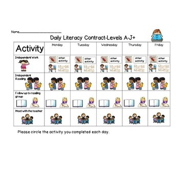Literacy Contracts for Daily Activities! Leveled! Organization!