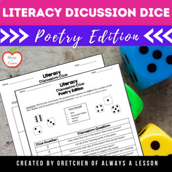 Literacy Discussion Dice Activity- Poetry Edition