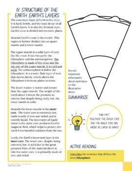 Understanding Earth's Layers -- Content Literacy Workbook (NGSS HS-ESS2-3)