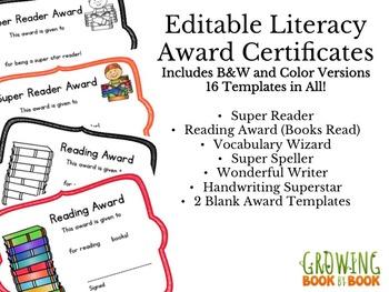 Literacy Editable Printable Certificates