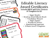 Literacy Editable Printable Certificates