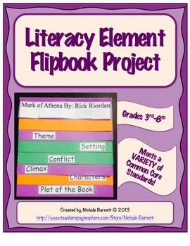 Literacy Element Flipbook Project & Rubric (Common Core Aligned)