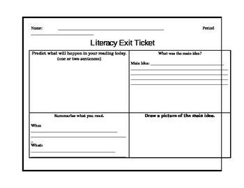 Literacy Exit Ticket