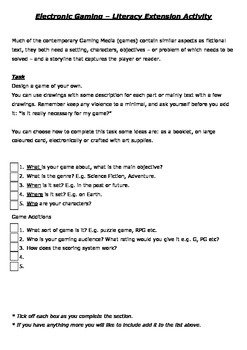 Literacy Extension Activity