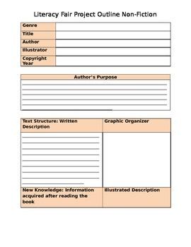 Literacy Fair Project Outline for Nonfiction