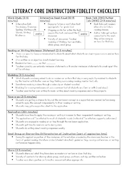 Literacy Fidelity Checklist and Lesson Planning Template