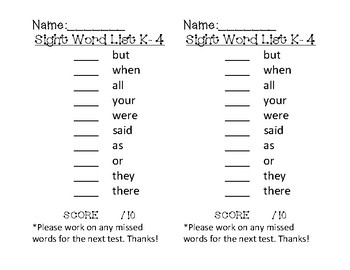 Literacy First Kindergarten Word List Sheets