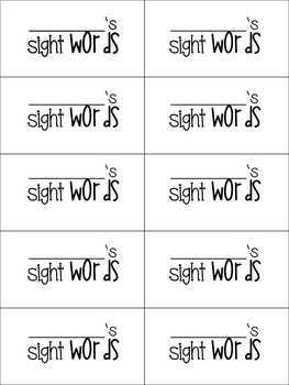 Literacy First Sight Word Booklets