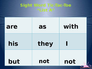 Literacy First Sight Word List A Tic Tac Toe