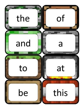 Literacy First - Word Cards List A - Minecraft Themed