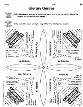 Literacy Genres & Grammar Cootie Catchers