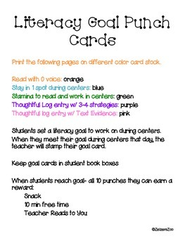 Literacy Goal Punch Cards
