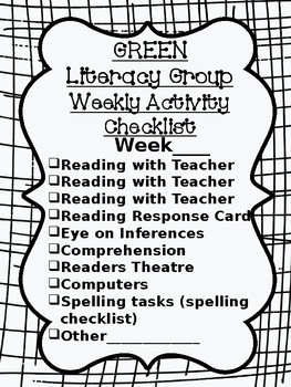 Literacy Group Activity Checklist