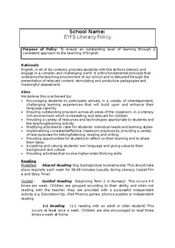 Literacy, Handwriting and Phonics Policy for EYFS