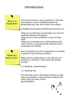 Literacy Homework Booklet 1