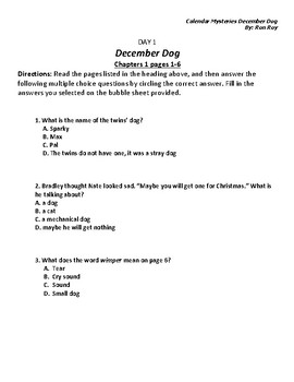 Literacy Homework--Calendar Mysteries; The December Dog