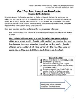 Literacy Homework--Magic Tree House Fact Tracker: American Revolution