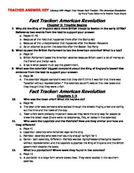 Literacy Homework--Magic Tree House Fact Tracker: American Revolution [KEY]