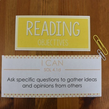 Literacy I CAN 4th Grade Objectives