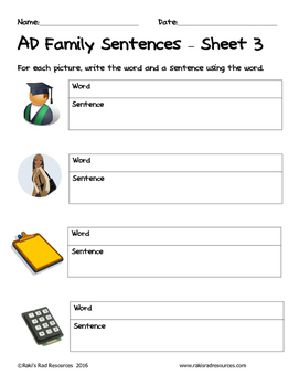 Literacy Interactive Notebook Pages - AD Word Family