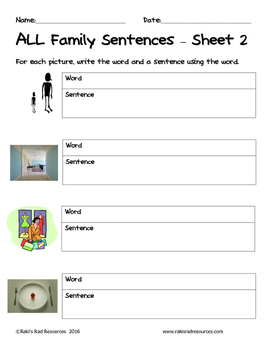 Literacy Interactive Notebook Pages - ALL Word Family