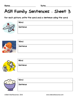 Literacy Interactive Notebook Pages - ASH Word Family