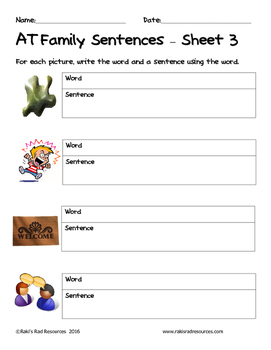 Literacy Interactive Notebook Pages - AT Word Family