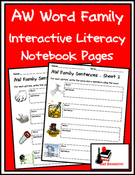 Literacy Interactive Notebook Pages - AW Word Family