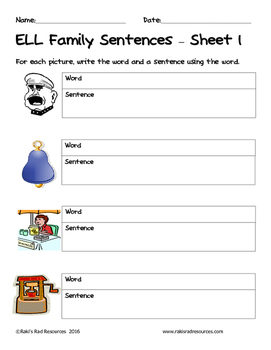 Literacy Interactive Notebook Pages - ELL Word Family