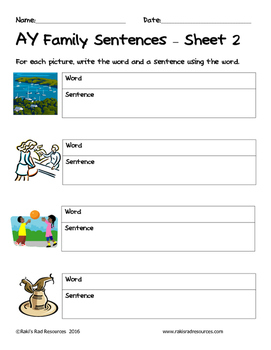 Literacy Interactive Notebook Pages - AY Word Family