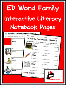 Literacy Interactive Notebook Pages - ED Word Family
