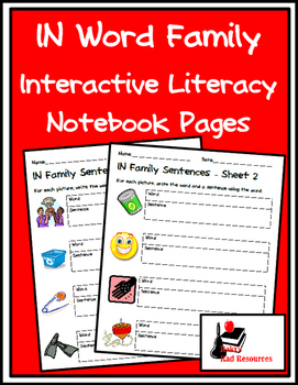 Literacy Interactive Notebook Pages - IN Word Family