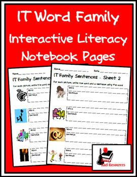 Literacy Interactive Notebook Pages - IT Word Family