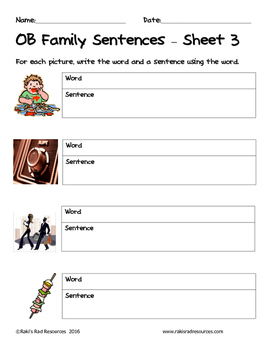 Literacy Interactive Notebook Pages - OB Word Family by Raki\'s Rad ...