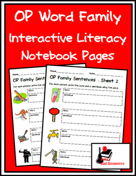 Literacy Interactive Notebook Pages - OP Word Family