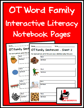 Literacy Interactive Notebook Pages - OT Word Family