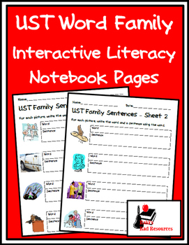 Literacy Interactive Notebook Pages - UST Word Family