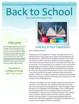 Literacy Letter to Parents
