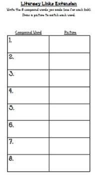 """Literacy Links"" - Compound Words (Literacy Center Activity)"