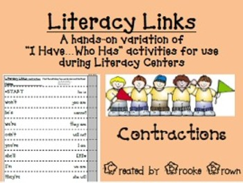 """""""Literacy Links"""" - Contractions (Literacy Center Activity)"""