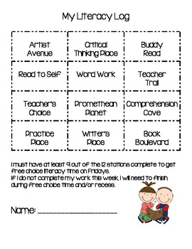 Literacy Log For student accountability
