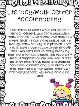 Literacy/Math Center Accountability Recording Sheets