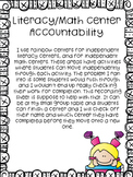 Literacy/Math Center Accountability Recording Sheets
