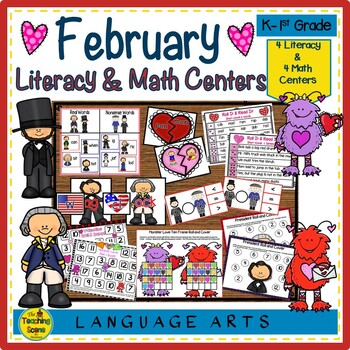 Literacy & Math Centers:  February--Hearts, Love Monsters & Presidents