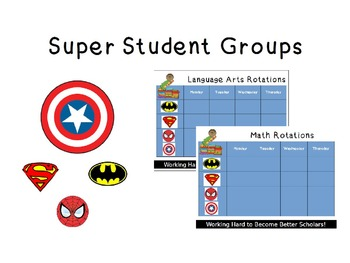 Literacy/Math Groups (Super hero themed) **Editable**