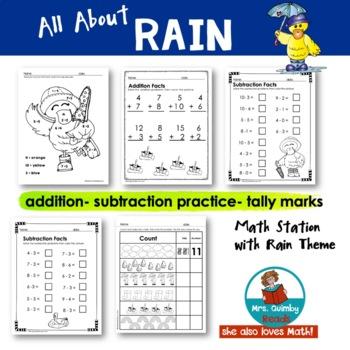 Literacy & Math SPRING Activities - Rain, Flowers & Ladybugs -Grade K-1