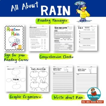 Literacy & Math SPRING Activities | Rain, Flowers & Ladybugs |