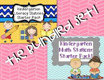 Kindergarten Literacy & Math Stations Starter Pack BUNDLE!