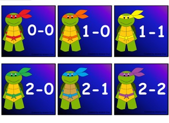 Literacy & Math Turtle Ninjas Flashcards aligned to Common Core
