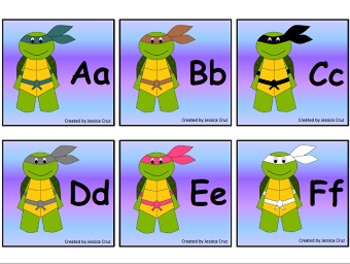Literacy & Math Turtle Ninjas Flashcards aligned to Common Core SPANISH